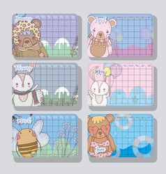 calendar information with cute animals style vector image