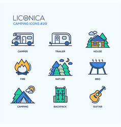 Camping time - modern icons set vector