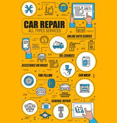 Car repair service auto spare parts motor oil vector