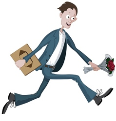 Cartoon man running hurriedly to date vector image