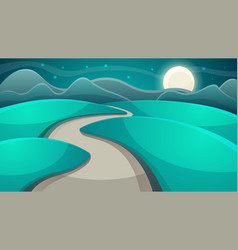 cartoon night landscape moon and cloud vector image