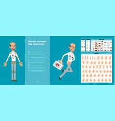 Cartoon scientist or doctor character set vector