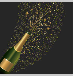 Champagne bottle splashing to new year vector
