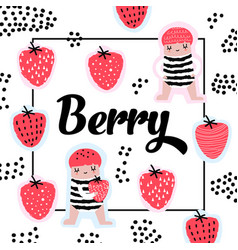 childish design with cute girls and strawberries vector image