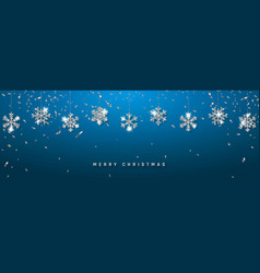 Christmas or new year silver snowflake decoration vector