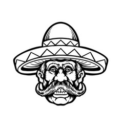 cinco de mayo man with sombrero hat character vector image
