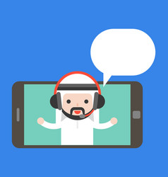 Cute arab businessman with headphone on tablet or vector