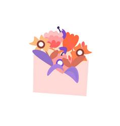 cute cartoon envelope with flowers vector image