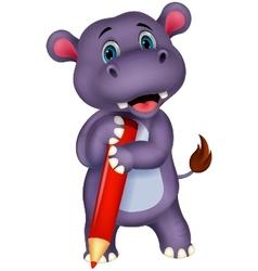 Cute hippo cartoon holding red pencil vector