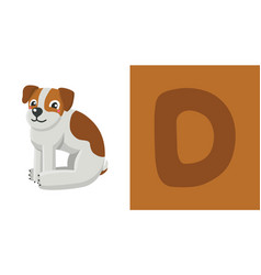 D is for dog letter c dog cute vector