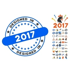 Designed In 2017 Stamp Icon With 2017 Year Bonus vector image