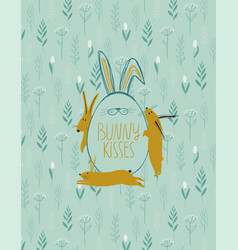 easter greeting card with egg and rabbits vector image