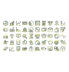 Economy and finance gradient style icon set vector