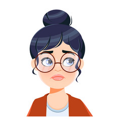 Face expression of beautiful woman disappointed vector