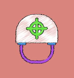 Flat shading style icon military helmet vector