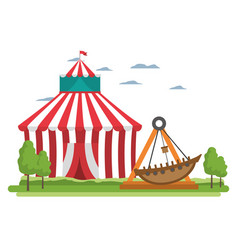 Funny mechanical ship carnival game vector