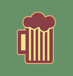 Glass beer sign cordovan icon and vector