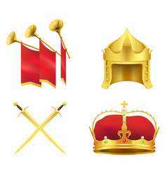 golden medieval symbols realistic icons set vector image