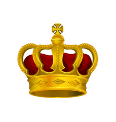 Golden monarch crown with red velvet and cross on vector