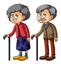 grandmother and grandfather with walkingstick vector image