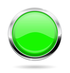 Green round button web icon with chrome frame vector