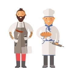 Grill chef and baker two men of character vector