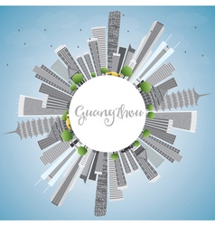 Guangzhou Skyline with Gray Buildings vector