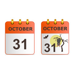 halloween on icons of calendar vector image