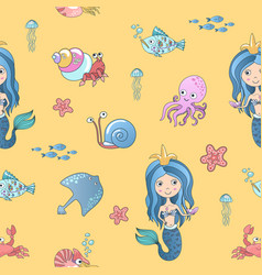hand drawing cute little mermaid princess vector image