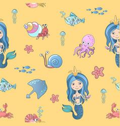 Hand drawing cute little mermaid princess vector