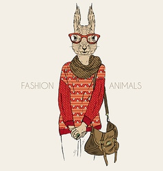 Hand drawn of squirrel hipster dressed up in vector