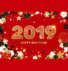 happy new year gold paper cut 2019 numbers and vector image