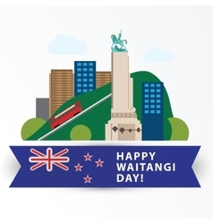 Happy Waitangi day 6 February New Zeland vector
