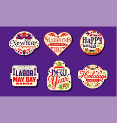 holiday stickers collection new year masquerade vector image