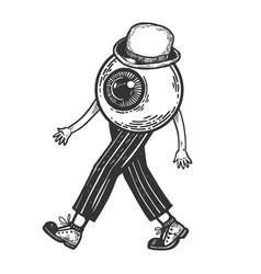 Human eye walks on its feet engraving vector