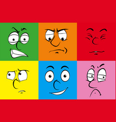 human facial expressions on colorful background vector image