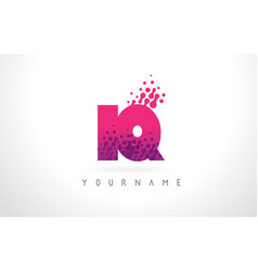 Iq i q letter logo with pink purple color and vector