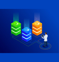 isometric big data server room with bright vector image