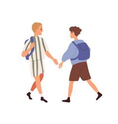 Junior schoolkids with schoolbags meeting vector