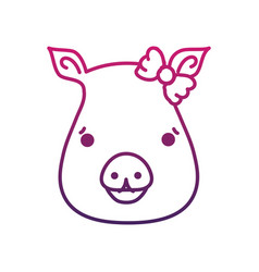 line cute pig female wild animal vector image