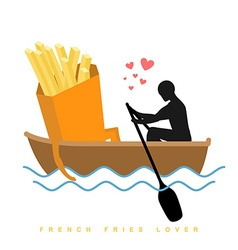 Lover french fries Man and fastfood and ride in vector image