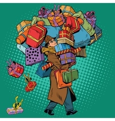 Man with shopping in holiday sale vector image