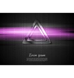 Metal triangle and purple shiny light design vector