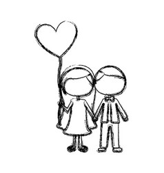 Monochrome sketch of caricature faceless couple vector