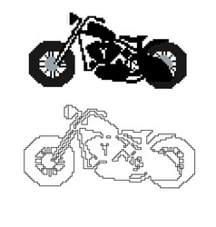 motorcycle in the style of pixel art vector image