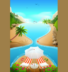 Paradise lagoon beach on tropical island two vector