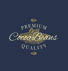 premium quality cocoa beans abstract sign vector image