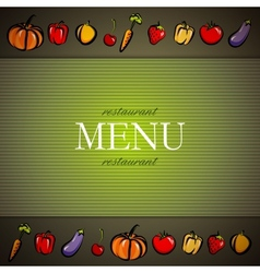 restaurant menu design with fruit and vegetables vector image