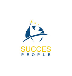 Round people succes logo vector