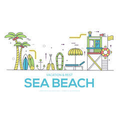 seabeach with items for summer activities vector image